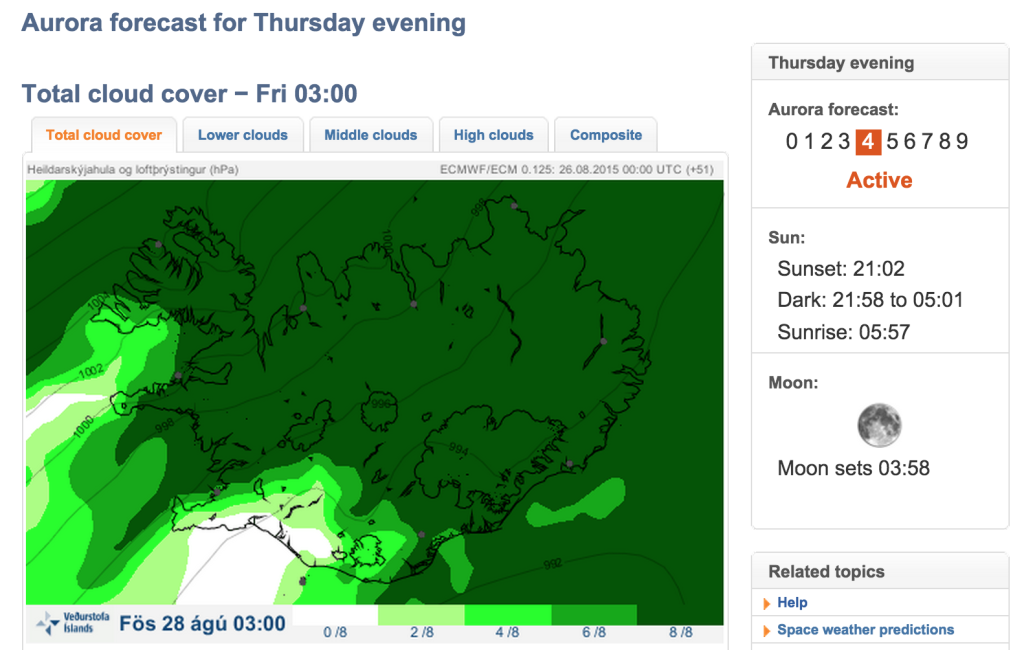 Met Office Iceland, Northern Lights forecast, Aurora Borealis